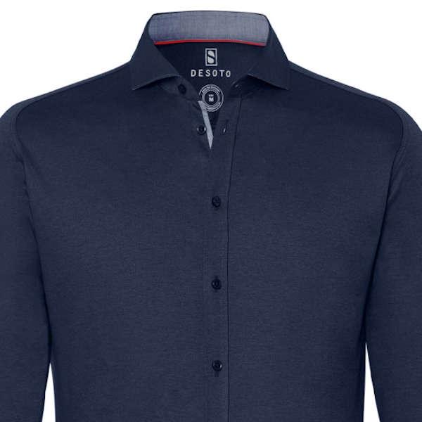 Desoto jersey overhemd Slim Fit 97007-3 in het Donker Blauw