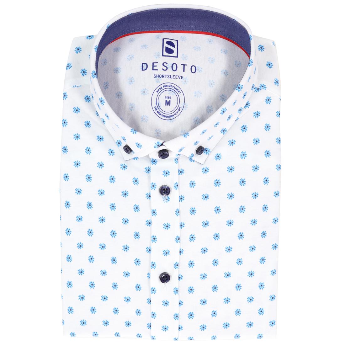 Desoto overhemd Slim Fit 90931-3 in het Wit/Blauw