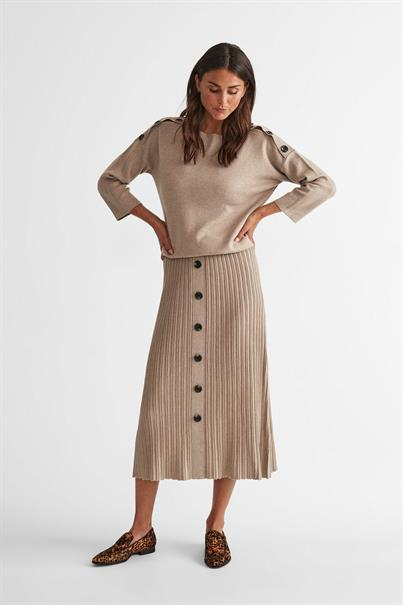 Freequent maxi rok ani-sk in het Khaky beige