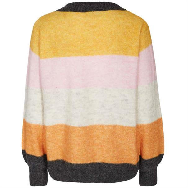 Freequent trui moto-pu-stripe in het Geel
