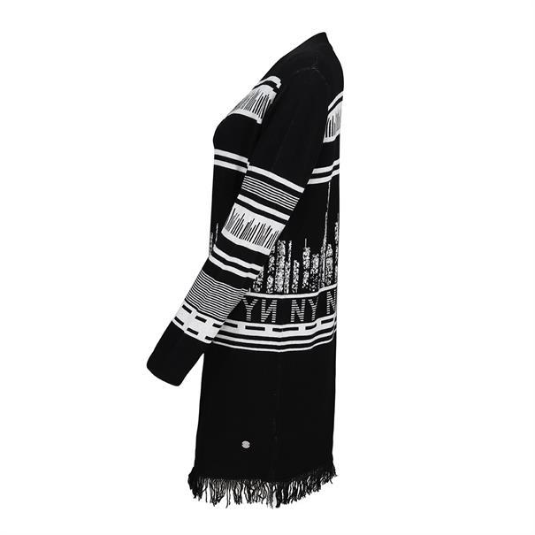 gebreid vest 959434 in het Zwart / Wit