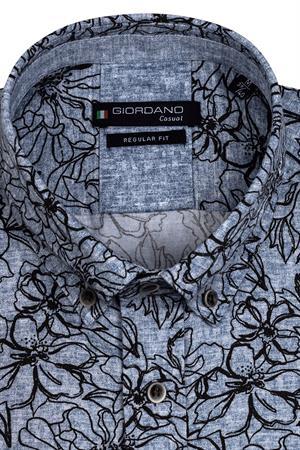 Giordano casual overhemd 127014 in het Donker Blauw