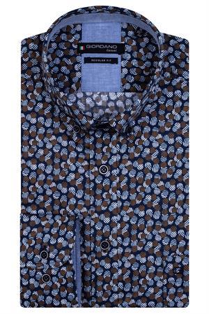 Giordano casual overhemd 127031 in het Donker Blauw