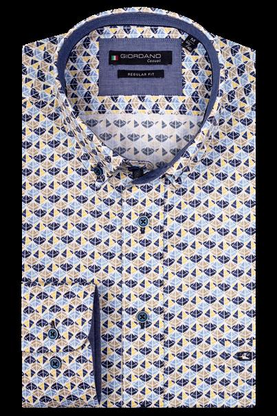 Giordano casual overhemd Regular Fit 107013 in het Licht Geel
