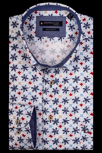 Giordano casual overhemd Regular Fit 107023 in het Wit/Rood