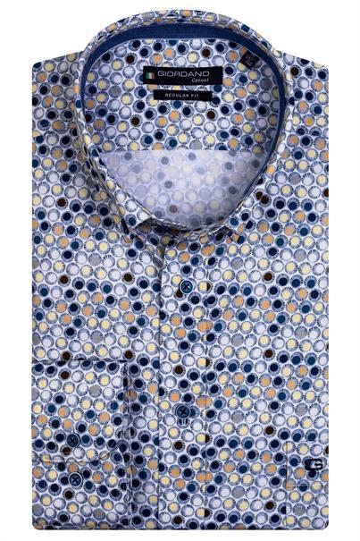 Giordano casual overhemd Regular Fit 117022 in het Geel