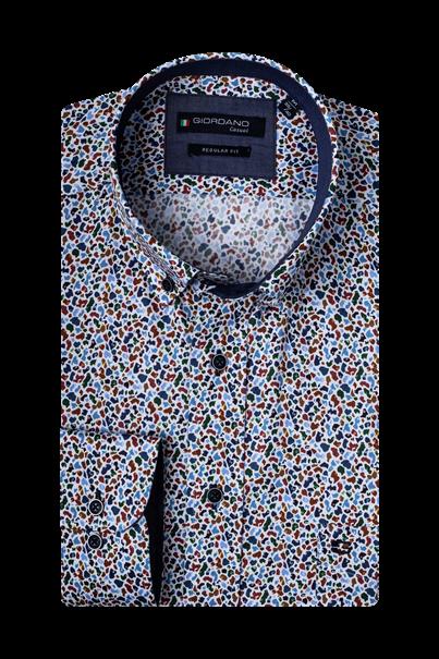 Giordano casual overhemd Regular Fit 207020 in het Wit/Groen