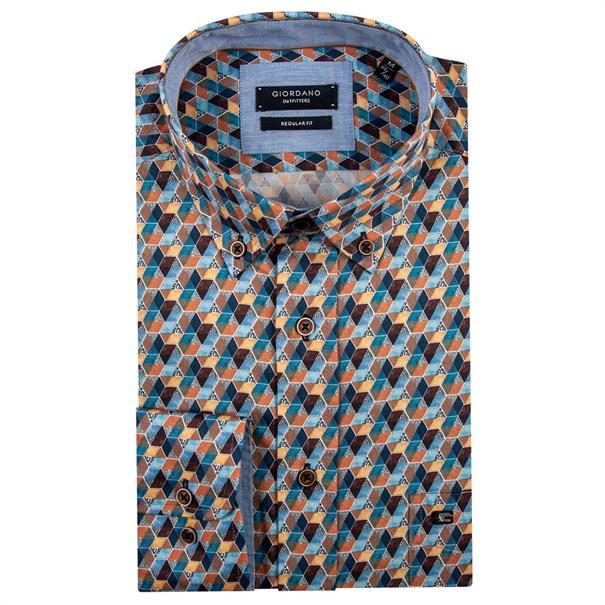 Giordano casual overhemd Regular Fit 91-6012 in het Beige