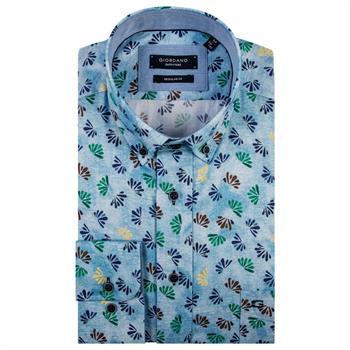 Giordano casual overhemd Regular Fit 91-7024 in het Licht Blauw