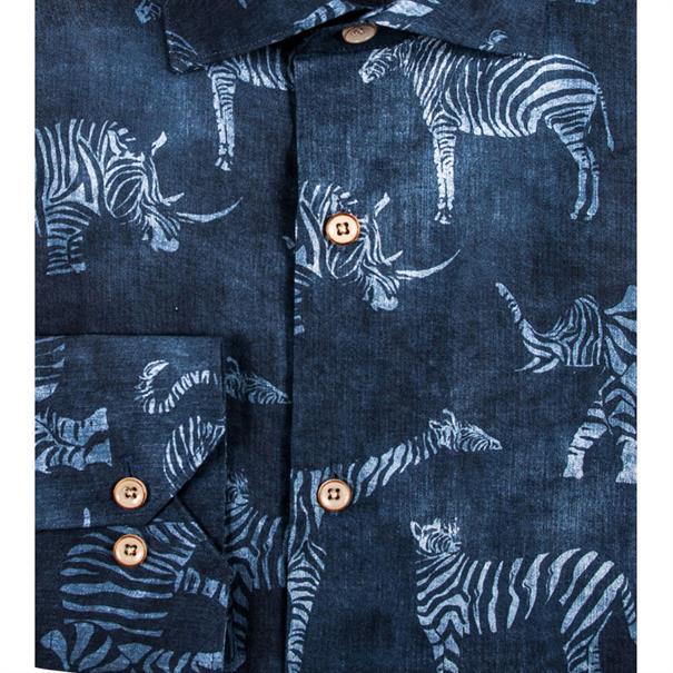 Giordano casual overhemd Regular Fit 91-7508 in het Donker Blauw