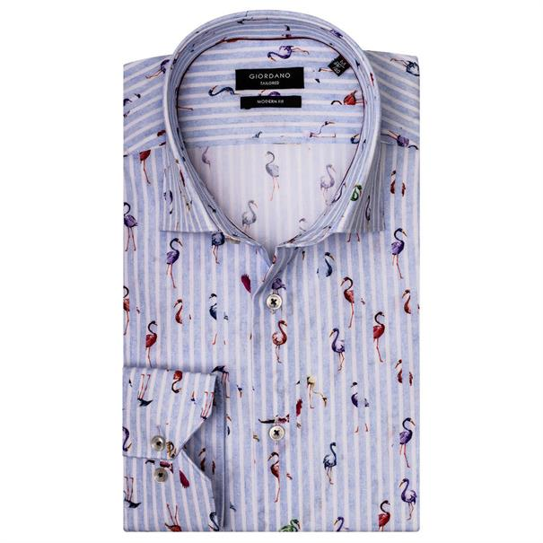 Giordano casual overhemd Regular Fit 91-7817 in het Licht Blauw