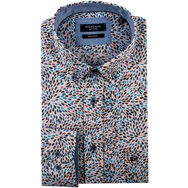 Giordano casual overhemden Regular Fit 91-7016 in het Aqua