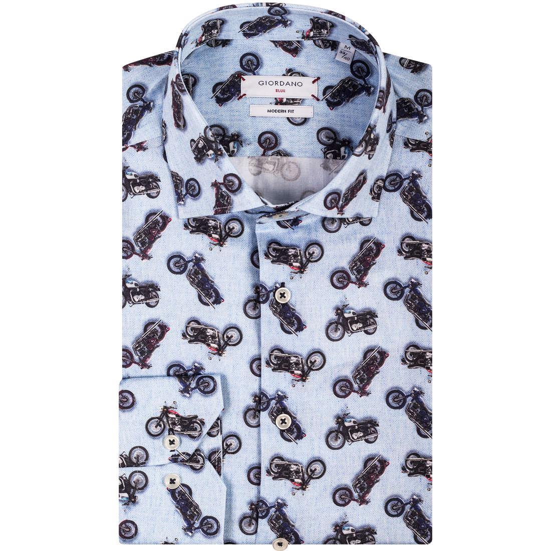 Image of Giordano overhemd Modern Fit 827509 in het Licht Blauw