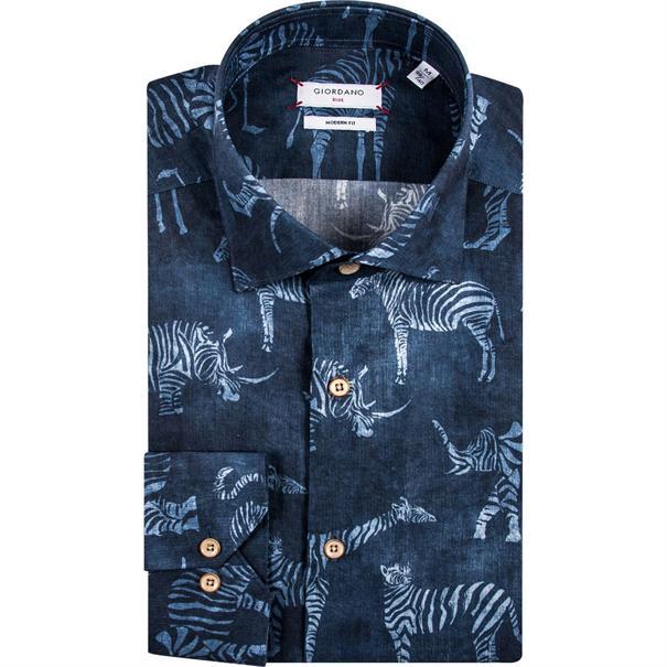 Giordano overhemd Modern Fit 91-7508 in het Donker Blauw
