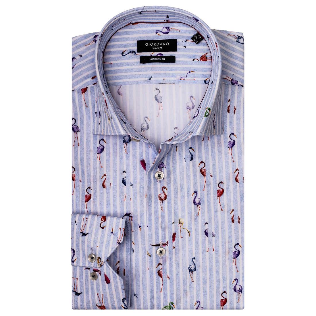 Giordano overhemd Modern Fit 91-7817 in het Licht Blauw