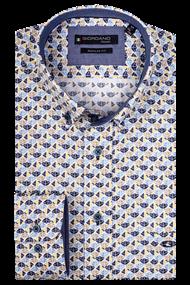 Giordano overhemd Regular Fit 107013 in het Licht Geel