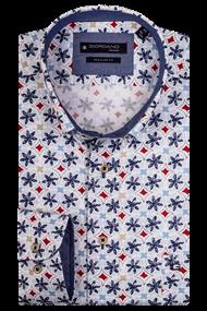 Giordano overhemd Regular Fit 107023 in het Wit/Rood