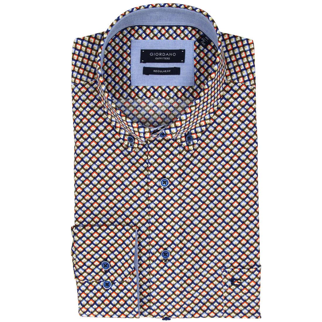 Image of Giordano overhemd Regular Fit 81-7032 in het Koraal