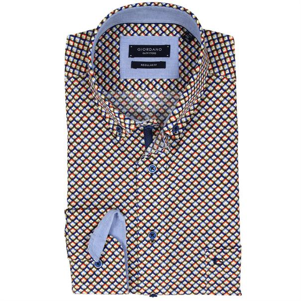 Giordano overhemd Regular Fit 81-7032 in het Koraal