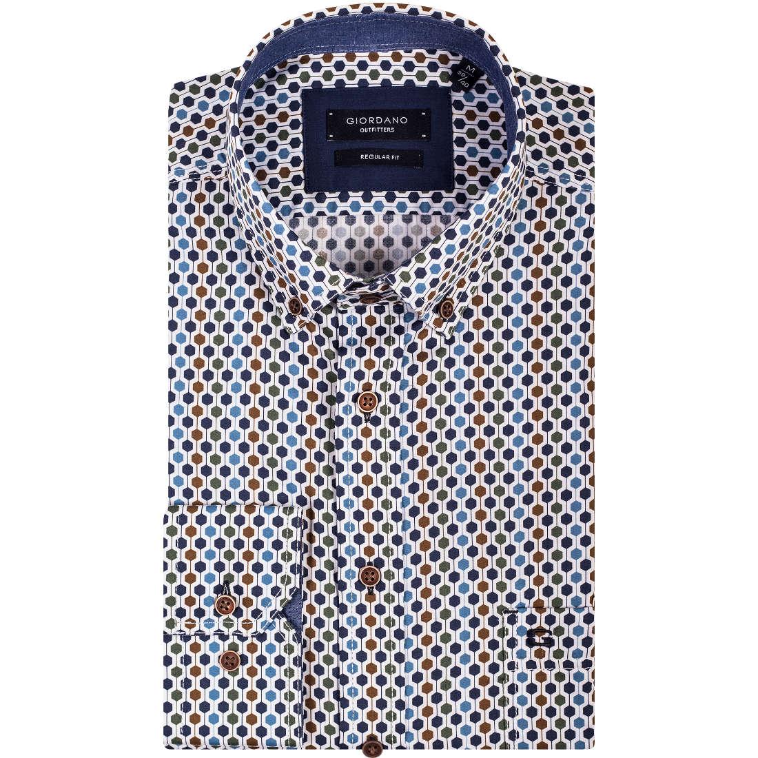 Giordano overhemd Regular Fit 827028 in het Groen