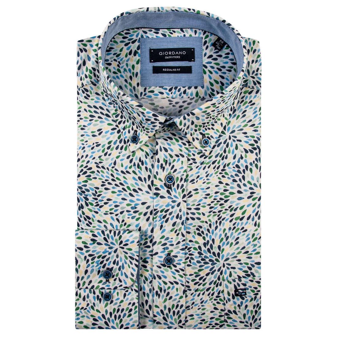 Giordano overhemd Regular Fit 91-6016 in het Groen