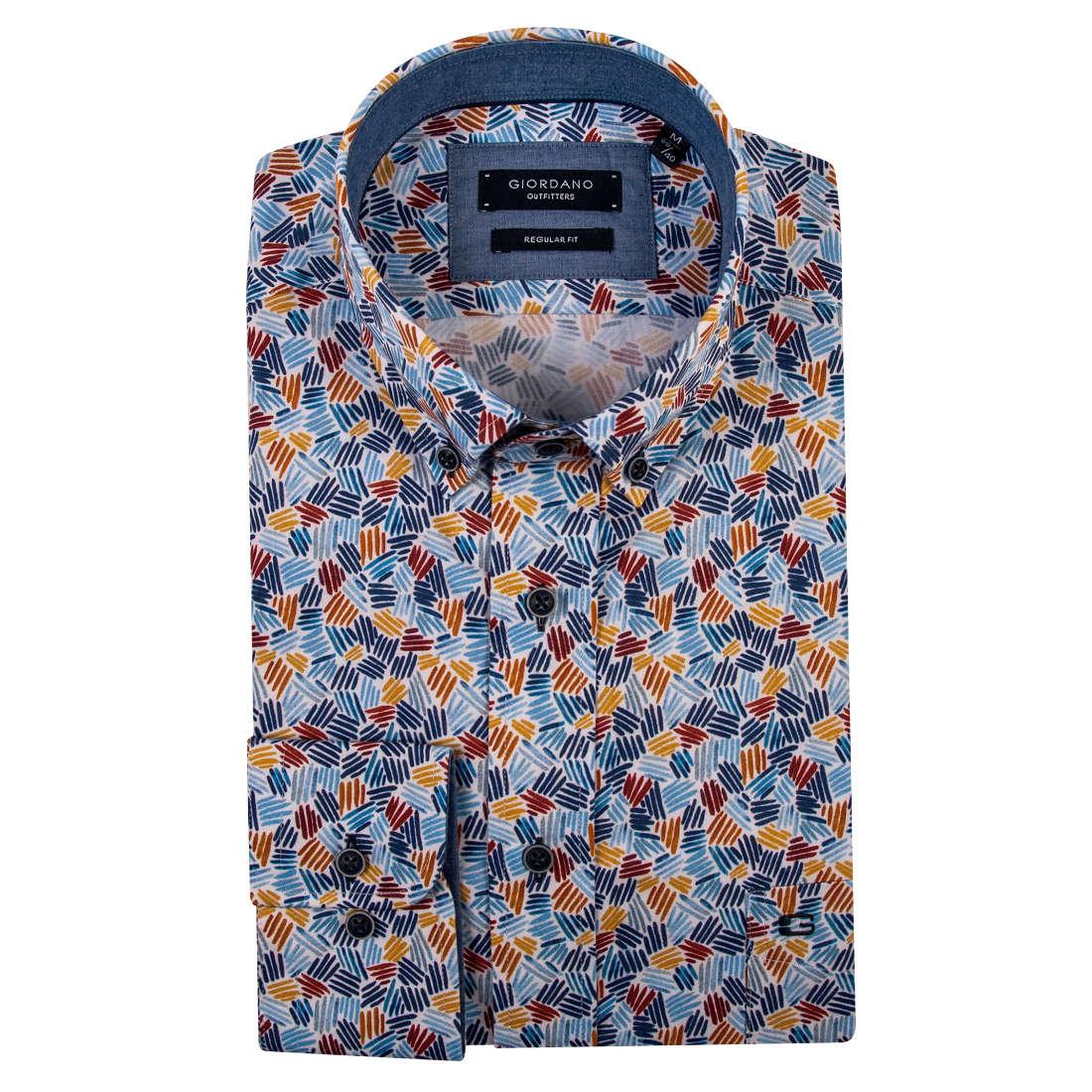 Giordano overhemd Regular Fit 91-6020 in het Blauw