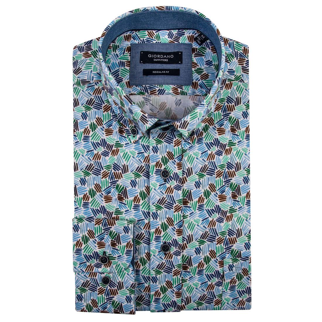 Giordano overhemd Regular Fit 91-6020 in het Groen
