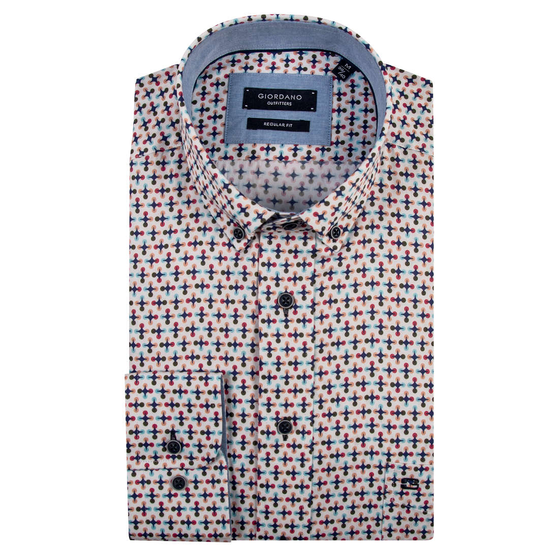 Giordano overhemd Regular Fit 91-6025 in het Aqua