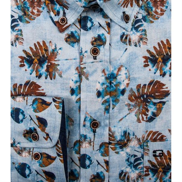 Giordano overhemd Regular Fit 91-7015 in het Aqua