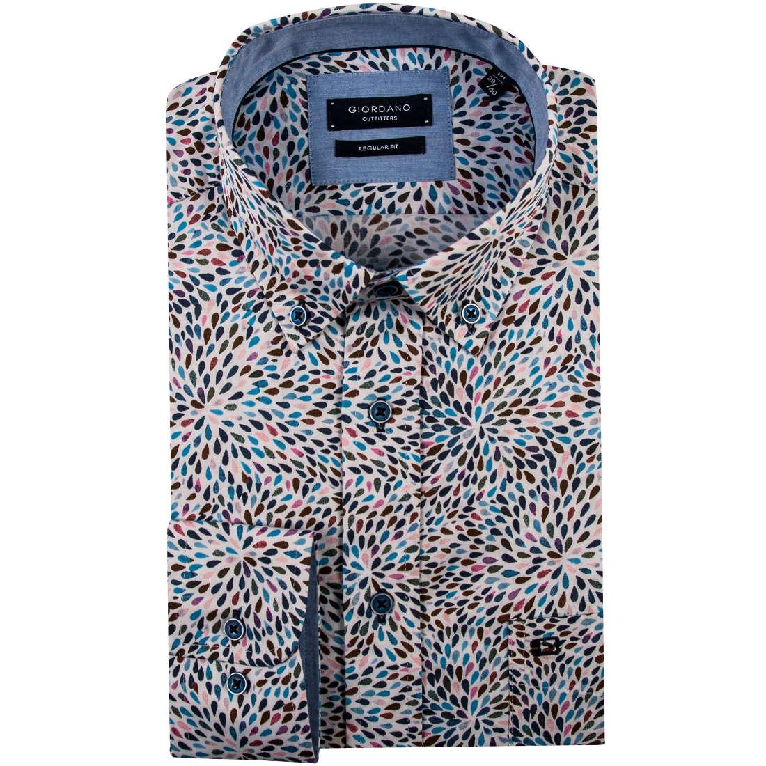 Giordano overhemd Regular Fit 91-7016 in het Aqua