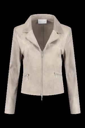 Helena Hart blazer 7288 zipper in het Khaky beige