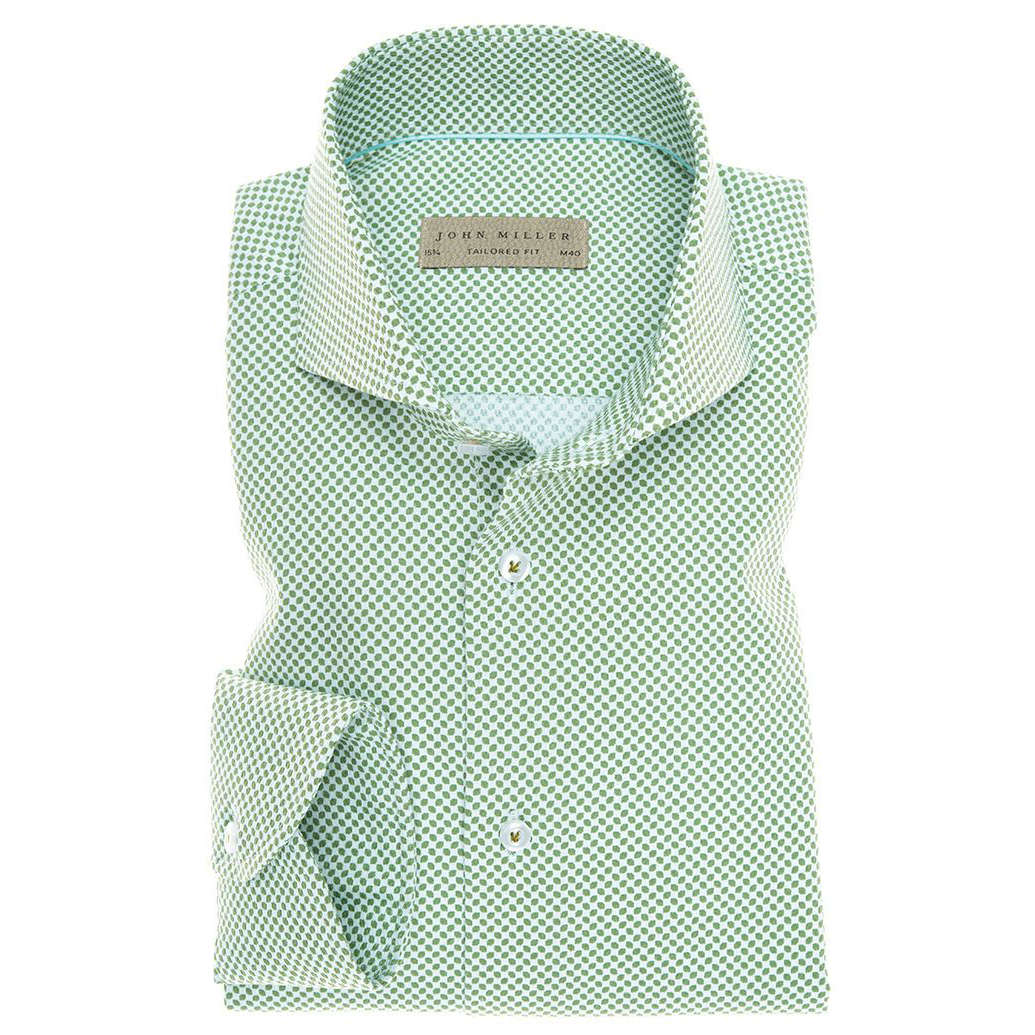 Image of John Miller overhemd Tailored Fit 5136007 in het Groen