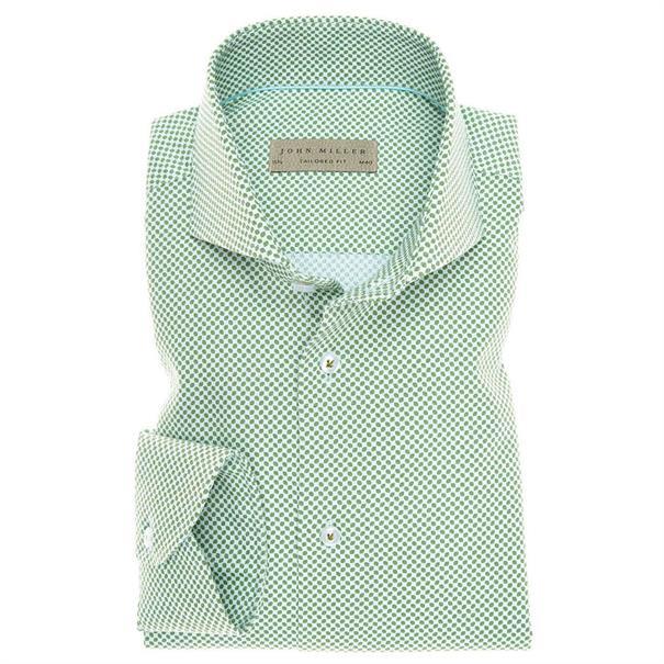 John Miller overhemd Tailored Fit 5136007 in het Groen