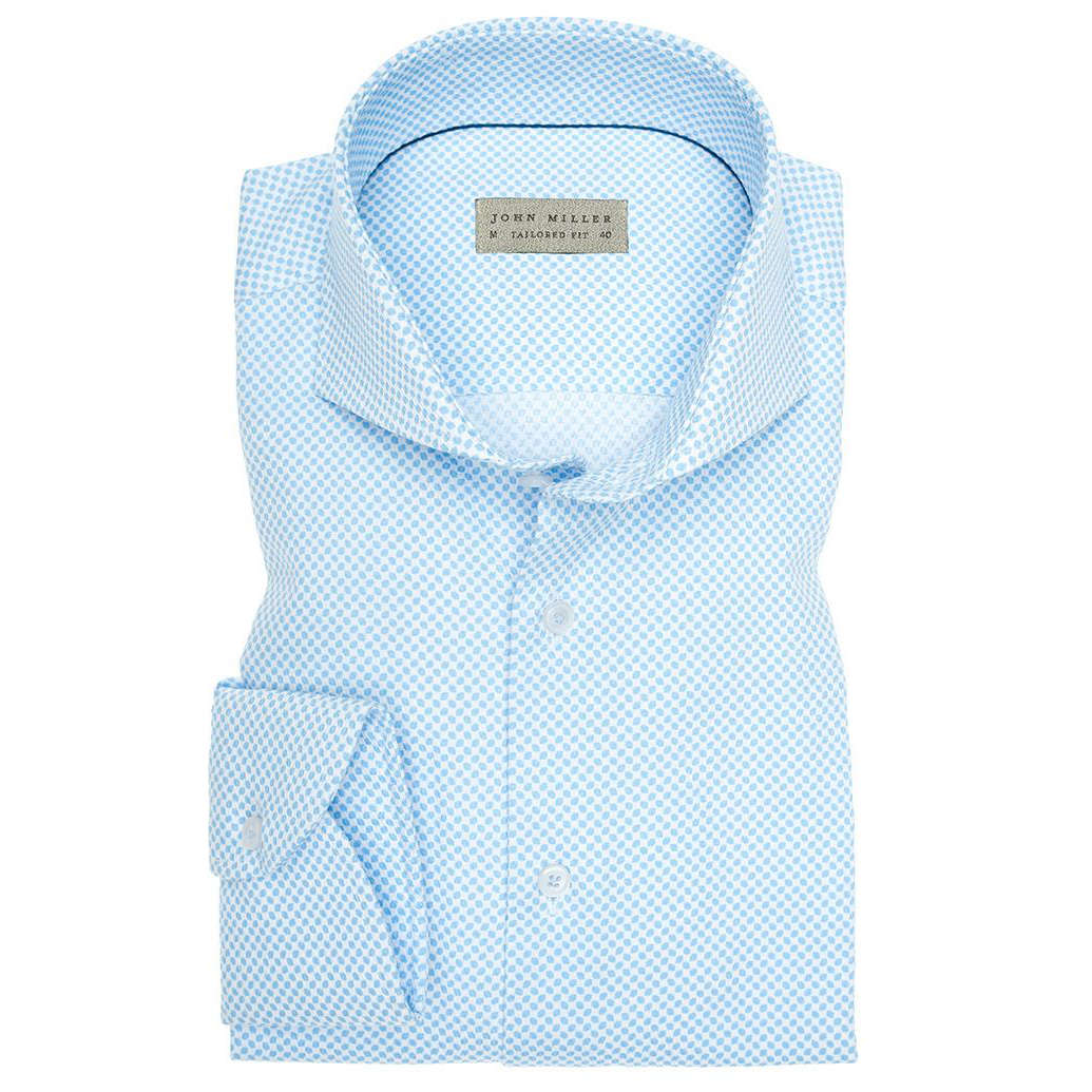 Image of John Miller overhemd Tailored Fit 5136007 in het Licht Blauw