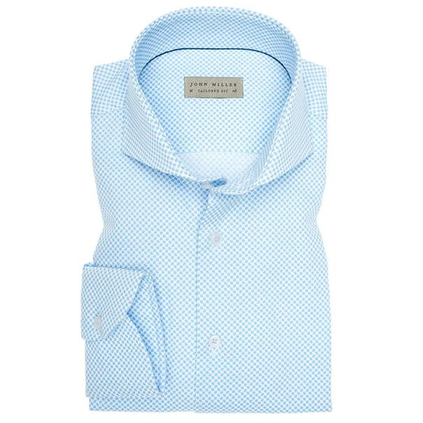 John Miller overhemd Tailored Fit 5136007 in het Licht Blauw