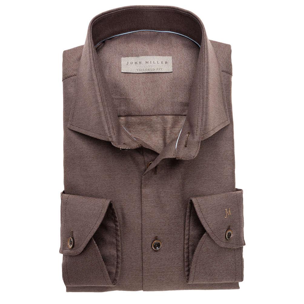 Bruin Overhemd.John Miller Overhemd Tailored Fit 5136488 In Het Bruin