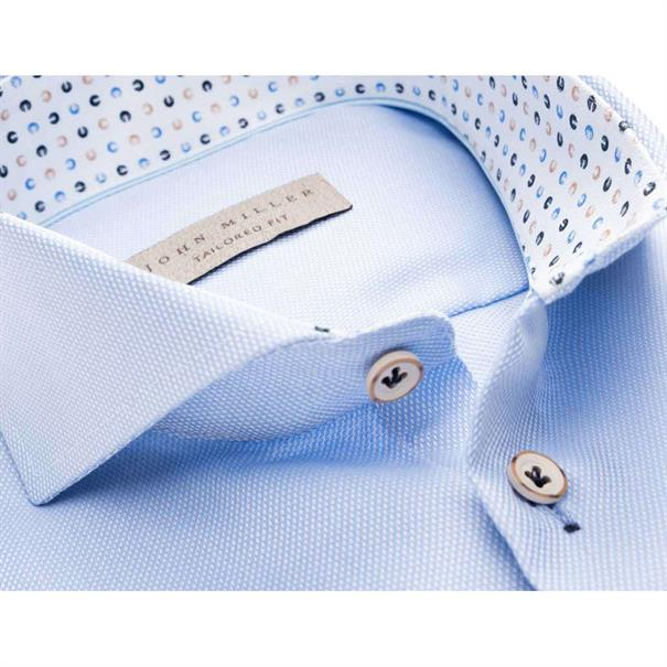 John Miller overhemd Tailored Fit 5136875 in het Licht Blauw
