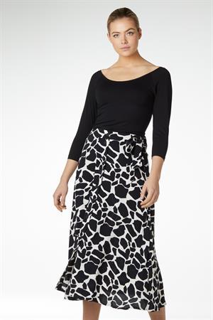 Juffrouw Jansen midi rok mary in het Zwart / Beige