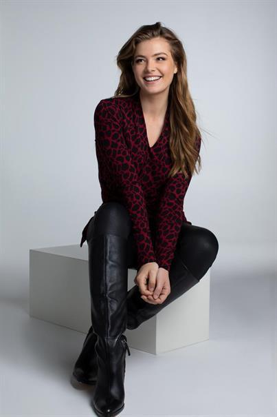 Juffrouw Jansen t-shirts happy in het Zwart / Rood