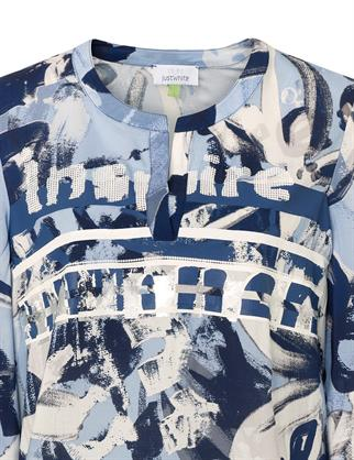 Just White blouse 43656 in het Hemels Blauw