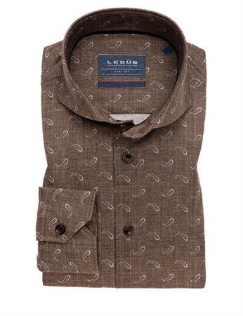 Ledub business overhemd Modern Fit 0139179 in het Bruin