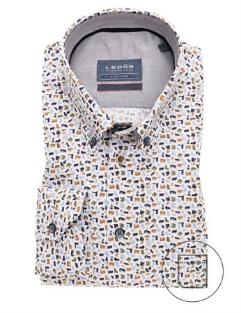 Ledub business overhemd Modern Fit 0139319 in het Groen