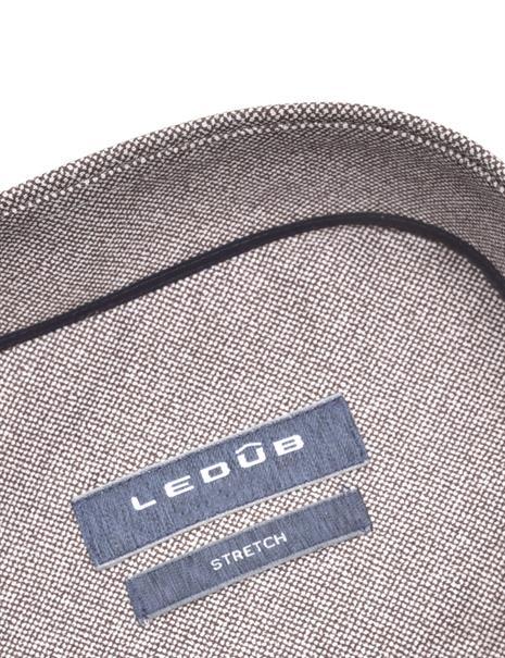 Ledub business overhemd Modern Fit 0140544 in het Donker Bruin