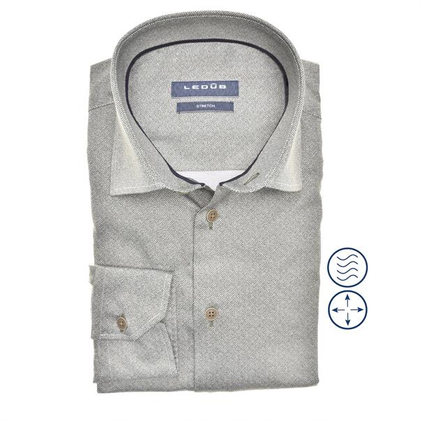 Ledub business overhemd Modern Fit 0140544 in het Donker Groen