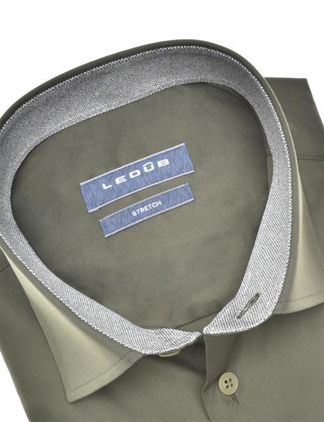 Ledub business overhemd Modern Fit 0140550 in het Donker Groen