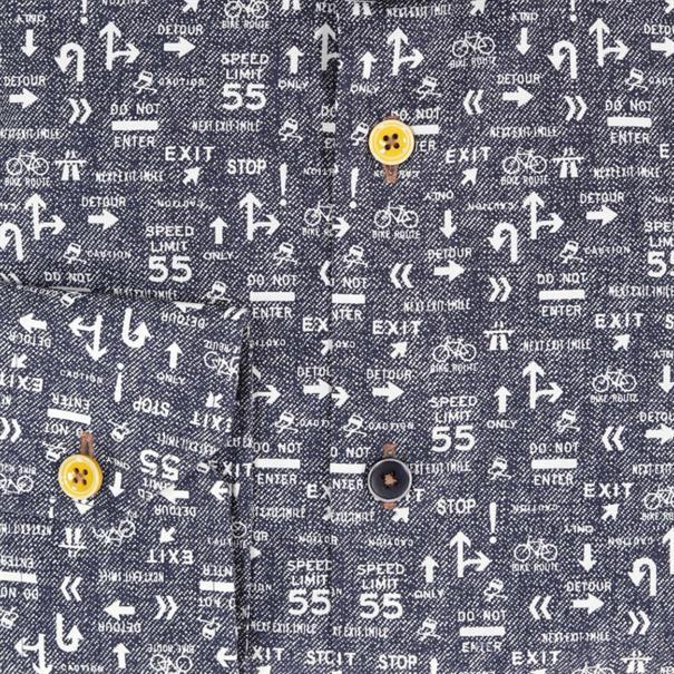 Ledub business overhemd Tailored Fit 0138241 in het Donker Blauw