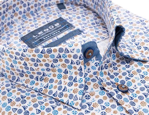 Ledub business overhemd Tailored Fit 0138644 in het Donker Blauw