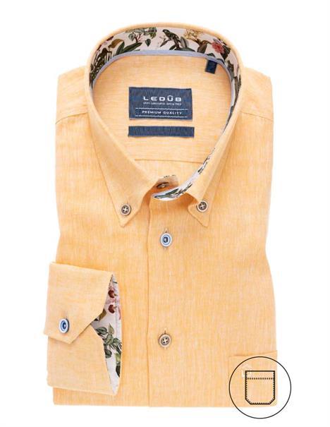 Ledub business overhemd Tailored Fit 0138988 in het Geel