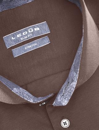 Ledub jersey overhemd 0140483 in het Donker Bruin
