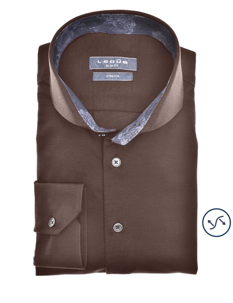 Ledub jersey overhemd 0140484 in het Donker Bruin